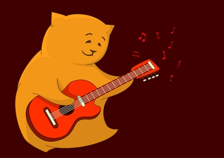 Cheerful red cat pillow playing a guitar, from which notes take off photo