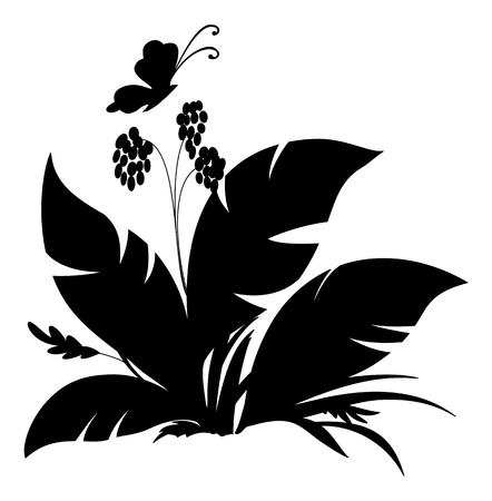 Tropical plant and butterfly, black silhouette on white background