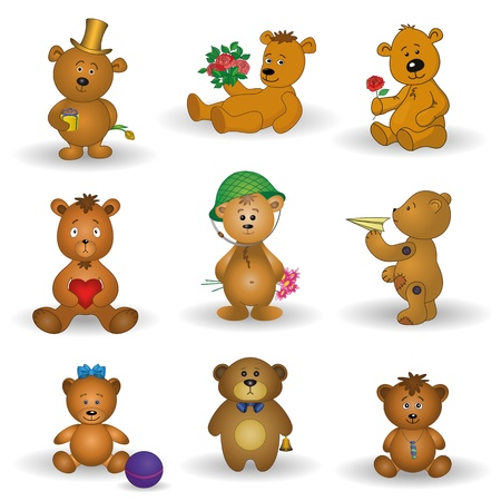 Set teddy bears with holiday greeting objects and toys   Vector