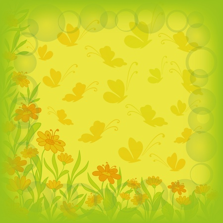 Abstract floral background  flowers, leaves and butterflies  , contains transparencies Stock Vector - 14057444