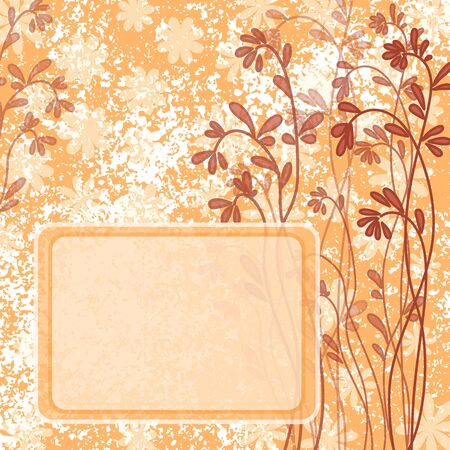 Abstract floral holiday background with flowers silhouettes and frame  Vector