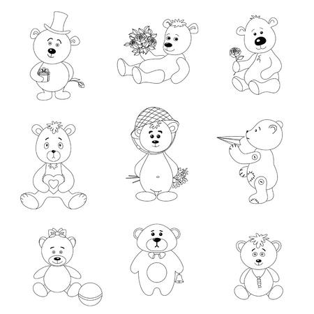 vintage teddy bears: Set orsacchiotti con gli oggetti vacanze di auguri e giocattoli, contorno nero su bianco illustrazione vettoriale sfondo