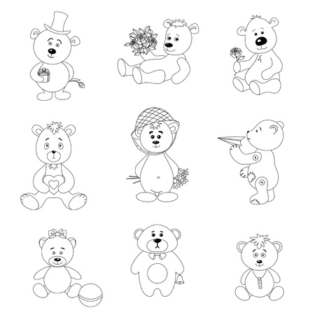 Set teddy bears with holiday greeting objects and toys, black contour on white background  Vector illustration