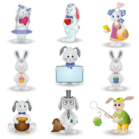 Set toy rabbits with holiday greeting objects Vector