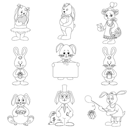 Set toy rabbits with holiday greeting objects, black contour on white background Stock Vector - 14080720