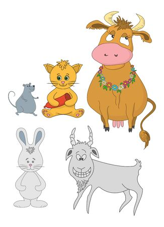 Set cartoon animals  cow, cat with sausage, mouse, goat, rabbit illustration Vector