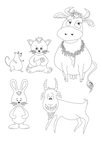 Set cartoon animals  cow, cat with sausage, mouse, goat, rabbit  Black contour on white background illustration Vector