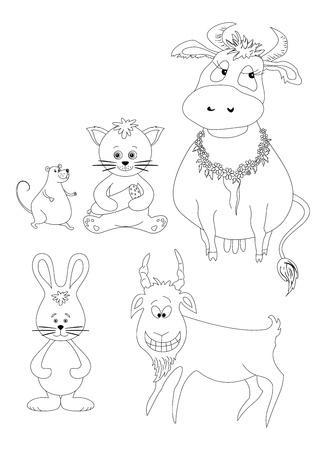 Set cartoon animals  cow, cat with sausage, mouse, goat, rabbit  Black contour on white background illustration Vector