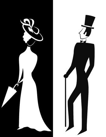 victorian lady: Gentleman and Lady, symbolic vintage style, black and white silhouette illustration