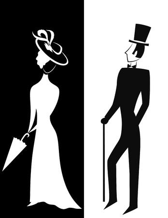 caballeros: Se�or y Se�ora, de estilo vintage simb�lico, silueta ilustraci�n en blanco y negro