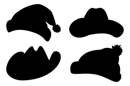 mosquetero: Conjunto de sombreros de Santa Claus, el sheriff, mosquetero, de punto, siluetas negras de invierno en la ilustraci�n de fondo blanco