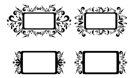 Set abstract backgrounds, banners, plates with floral pattern, black silhouette on white background  illustration Vector