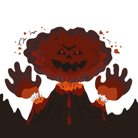 The evil erupting volcano with a human face and hands, cartoon  Vector illustration Illusztráció