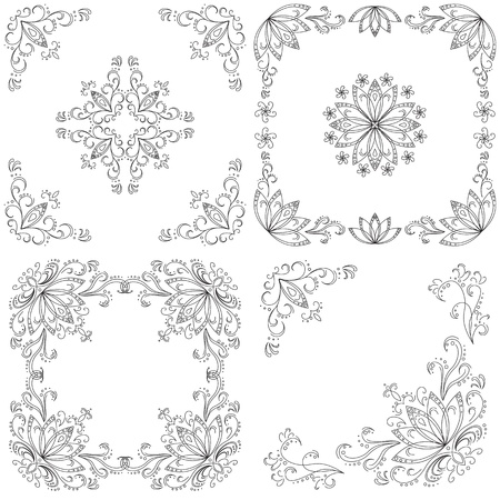Stel abstracte florale achtergrond, zwarte contour op een witte achtergrond Vector illustratie