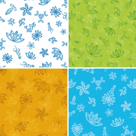 Set abstract seamless floral backgrounds with outline symbolical flowers  Vector illustration Vector