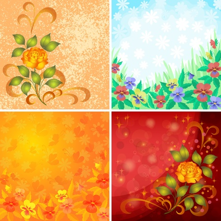 Set abstract holiday floral backgrounds with flowers pansies, roses and butterflies  Vector eps10, contains transparencies