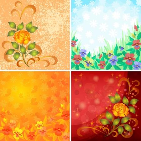 Stel abstracte vakantie florale achtergrond met bloemen viooltjes, rozen en vlinders Vector eps10, bevat transparanten Stock Illustratie