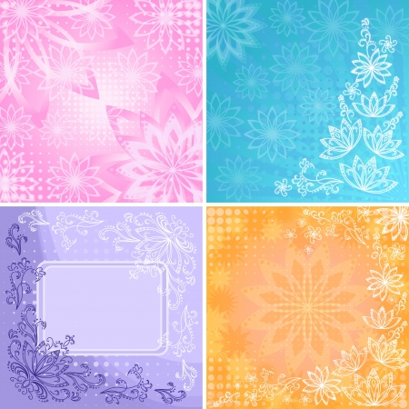 Set abstract floral backgrounds with outline flowers, contours and frame contains transparencies