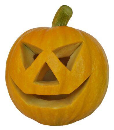 terribly: Symbol of a holiday of Halloween  a pumpkin Jack O Lantern, isolated  Very terribly