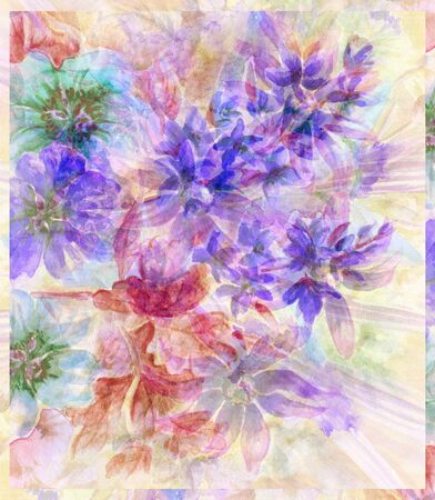 Picture, abstract flowers  Hand draw water colour on a paper photo