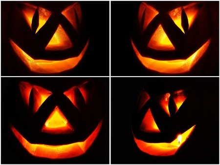 Symbol of Halloween holiday  a pumpkin O Lantern with a candle burning on black background, set photo