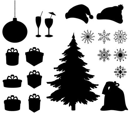 arbol de pino: Establecer los objetos de vacaciones de Navidad Negro silueta de Vector fondo blanco