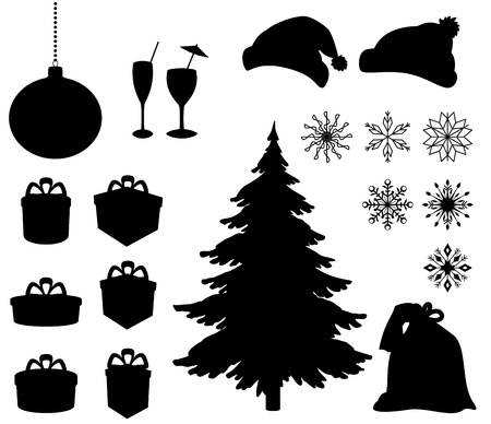 coniferous tree: Set Christmas holiday objects  Black silhouette on white background  Vector