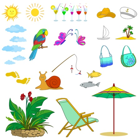 Set objects represent summer, exotic and a beach  Vector Vector
