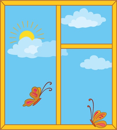 Window with a blue cloudy sky, sun and butterflies  Vector illustration Vector