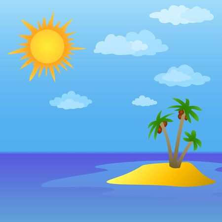 Summer tropical sea landscape  sun, sky and island with palm trees  Vector