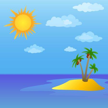 solarium: Summer tropical sea landscape  sun, sky and island with palm trees  Illustration