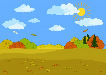 Autumn landscape  sunny blue sky with white clouds, forest and the falling leaves