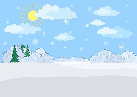 Christmas winter landscape  a blue sky with the sun and snowflakes, snow-covered forest  Vector
