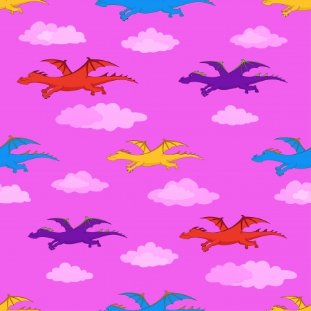 Seamless background, colorful winged dragons flies in pink sky Stock Vector - 14811038