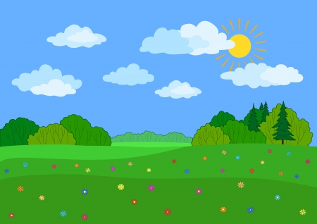 Summer landscape  a green meadow, flowers, forest and blue sky with clouds