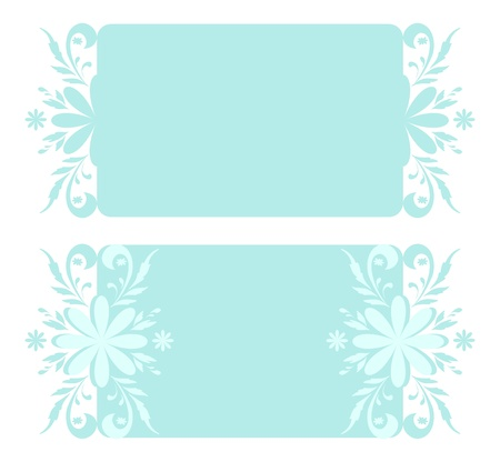 Abstract backgrounds, banners, plates with white and blue Christmas holiday floral pattern   Illusztráció
