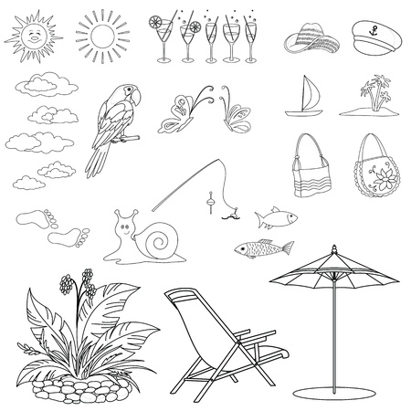 Set objects represent summer, exotic and a beach, black contour on white background