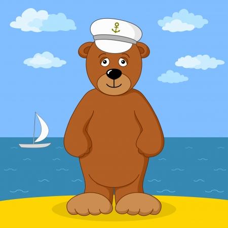 Cartoon, teddy bear in captain cap smiling on sea coast   Vector
