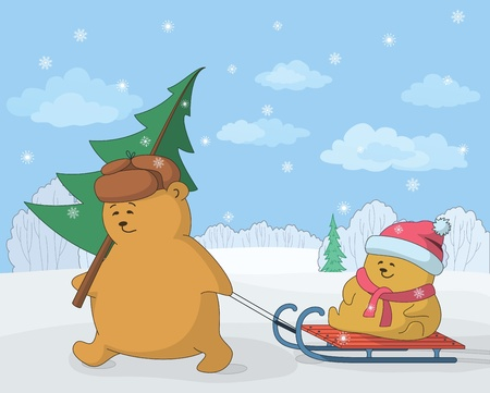 Cartoon, teddy bears in the winter forest, father with a Christmas tree and child on sledge  Vector illustration Vector