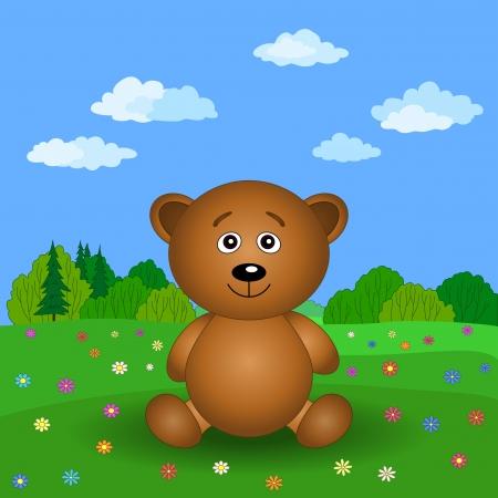 Cartoon, toy teddy bear on a summer flower meadow  Vector illustration Vector