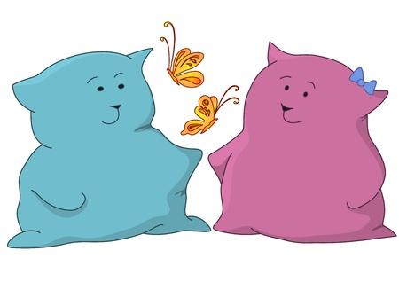 corpulent: Cartoon, toy cats boy and girl admire butterflies  Vector illustration Illustration