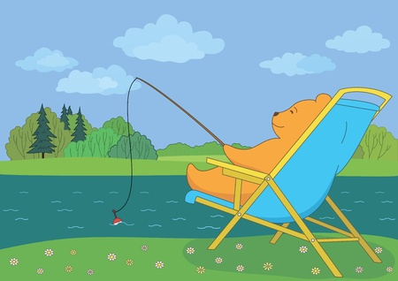 coppice: Cartoon, teddy bear sitting in a chaise lounge and fishing in forest river  Vector Illustration