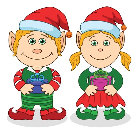 Cartoon Christmas elves, boy and girl with holiday gift boxes  Vector