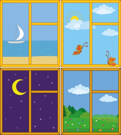 Set windows with landscapes  sea and ship, butterflies in the sky, moonlit night, flower meadow   Vector