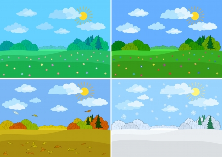 Set forest landscapes, seasons  spring, summer, autumn, winter Stock Vector - 15134771