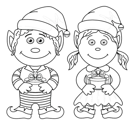 Cartoon Christmas elves, boy and girl with holiday gift boxes, black contour on white background  Vector