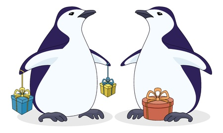 Cartoon antarctic penguin with holiday gift boxes  Vector Vector