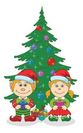 Cartoon Christmas elves, boy and girl in Santa Clauses hats near holiday fir tree with gift boxes  Vector Illustration