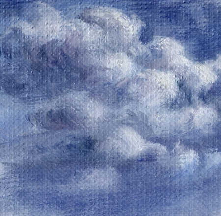 Cielo azul con nubes blancas Foto, pintura al óleo, dibujo a mano sobre lienzo Foto de archivo - 15595685