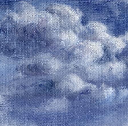 Cielo azul con nubes blancas Foto, pintura al �leo, dibujo a mano sobre lienzo Foto de archivo - 15595685